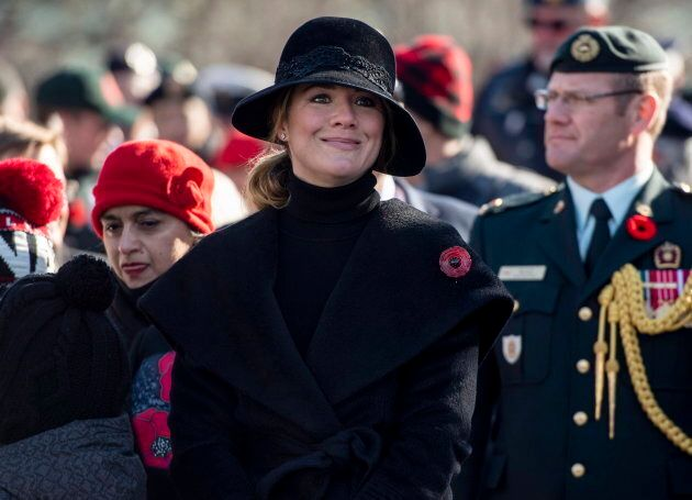 Sophie Gregoire Trudeau, wife of Prime Minister Justin Trudeau, looks on during Remembrance Day ceremonies...