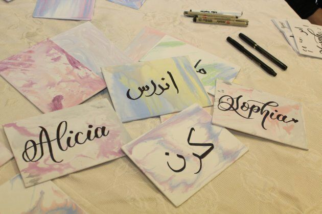 Visitors had their names written in calligraphy in English and Arabic at Jaffari Community Centre in Vaughan, Ont. on Nov. 10, 2018.