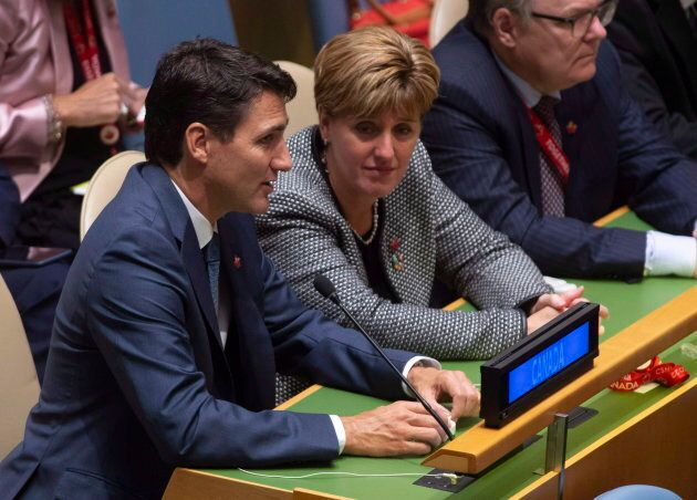PM Trudeau with Bibeau at the United Nations Headquarters on Sept. 24,