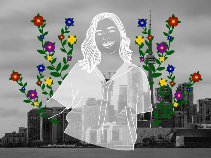 A portrait of the author over the city of Toronto, where she currently resides.