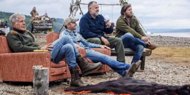 Anthony Bourdain with Newfoundland chef Jeremy Charles, far right, during the filming