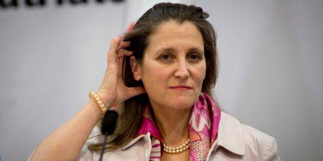 Foreign Affairs Minister Chrystia Freeland attends a joint news conference with Palestinian Foreign Minister...