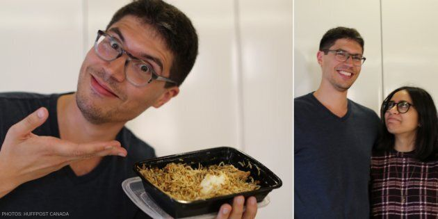 Amir Ahmed poses with biryani (left); Ahmed and Carine Abouseif (right)