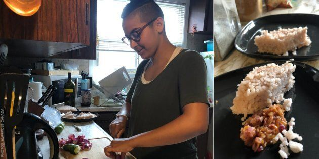 Artist Kumari Giles chops onions in their kitchen in Toronto, Ont. (left); a plate of katta sambol, adapted from their grandmother's recipe (right).