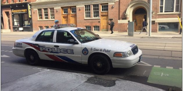 This is the location, on Adelaide Street in downtown Toronto, where the police vehicle was