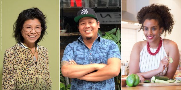 From left to right: caterToronto founder Vanessa Ling Yu, Tuk Tuk Canteen co-owner Mike Tan, Black Foodie...