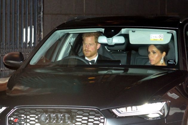 The Duke and Duchess of Sussex leave Kensington Palace in London to go to Buckingham Palace for the Prince of Wales' 70th birthday party.