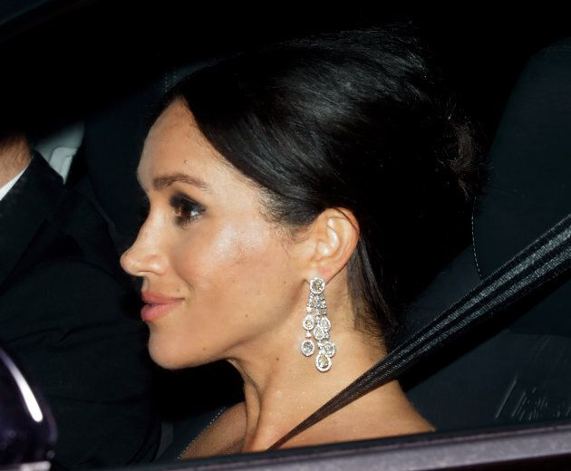 Meghan on her way to her father-in-law's birthday party.