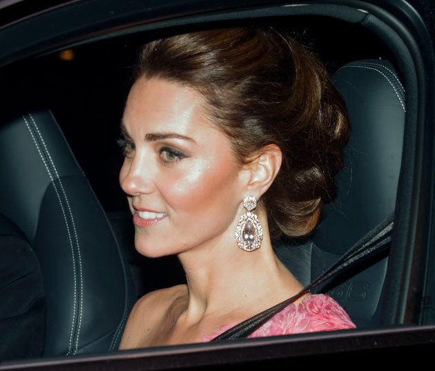 Catherine, Duchess of Cambridge on her way to the party.