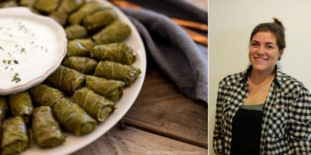 Warak enab, stuffed grape vine leaves, on a plate (Left); the rolls are among law student Tasha Stansbury's...