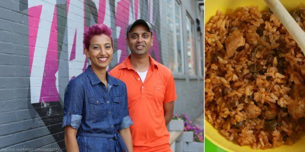 Pelau gets the third-degree from Natalie (left) and Mark (right) Ramtahal in 'Born & Raised: Food's' episode on fitting in.