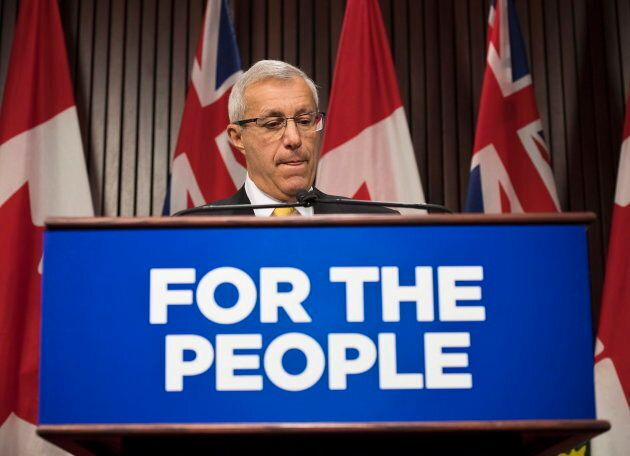 Ontario Finance Minister Vic Fedeli speaks to reporters after tabling the 2018 Ontario Economic Outlook and Fiscal Review at Queen's Park in Toronto on Nov. 15, 2018.