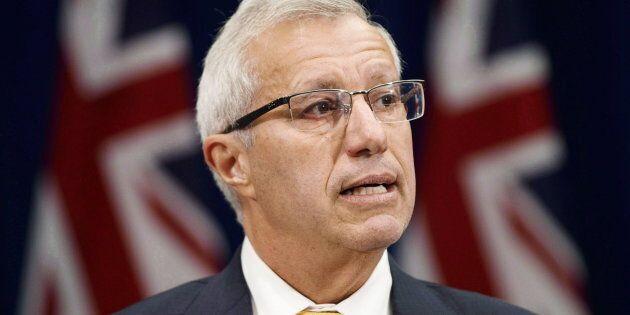 Ontario Finance Minister Vic Fedeli speaks to media on Sept. 26, 2018 in Toronto.