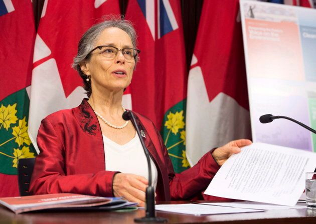 Dianne Saxe, environmental commissioner of Ontario, releases her annual report during a news conference at Queen's Park in Toronto on Nov. 13, 2018.