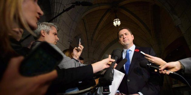 Conservative Leader Andrew Scheer speaks to media on Parliament Hill on Nov. 7,