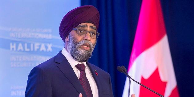 Defence Minister Harjit Sajjan fields questions at the opening news conference of the Halifax International...