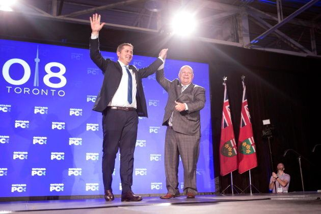 Federal Conservative Leader Andrew Scheer, left, is joined on stage by Ontario Premier Doug Ford after...