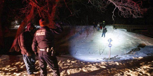 Migrants from Somalia cross into Canada illegally from the United States near Emerson, Man. in on Feb....