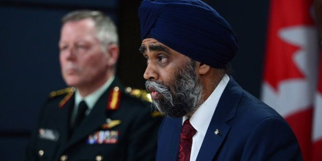 Defence MinisterHarjitSajjan and Chief of Defence staff General Jonathan Vance attend a news conference...