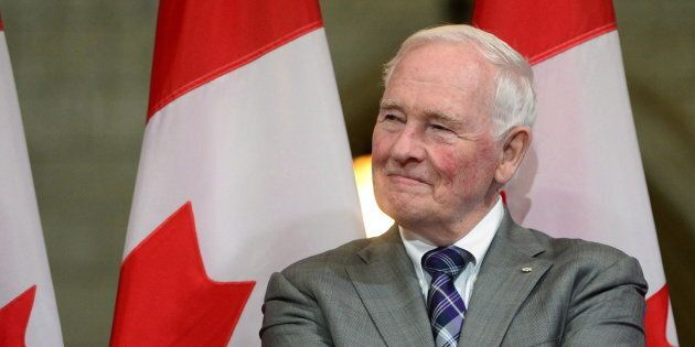 DavidJohnston looks on during a a farewell reception in Ottawa on Sept. 28,