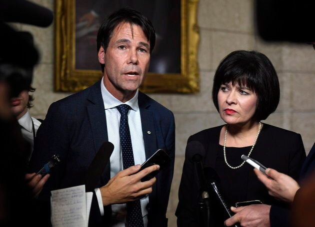 Eric Hoskins, former Ontario minister of health, stands with Health Minister Ginette Petitpas Taylor on Parliament Hill on Feb. 27, 2018. Hoskins chairs a federal government advisory council to implement a national pharmacare plan