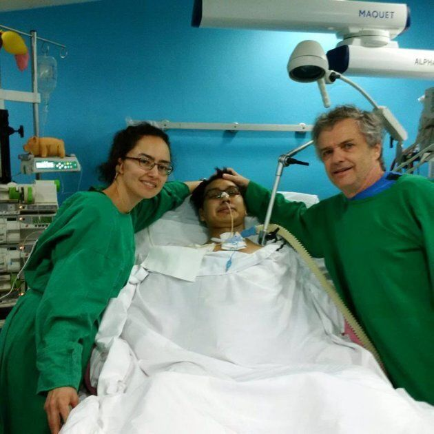 Napu Boychuk, centre, is pictured at a hospital in Cuba with his sister Tutalik and father