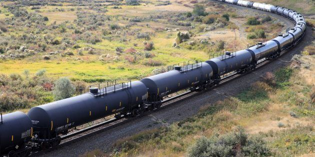 Crude oil and other petroleum products are transported in rail tanker cars on a Canadian Pacific Railway...