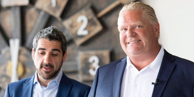 MPP Ross Romano stands with Ontario Premier Doug Ford in Sault Ste. Marie on June 1,