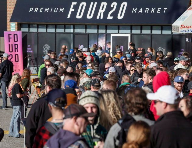 People line-up to purchase legal cannabis in Calgary on Oct. 17,