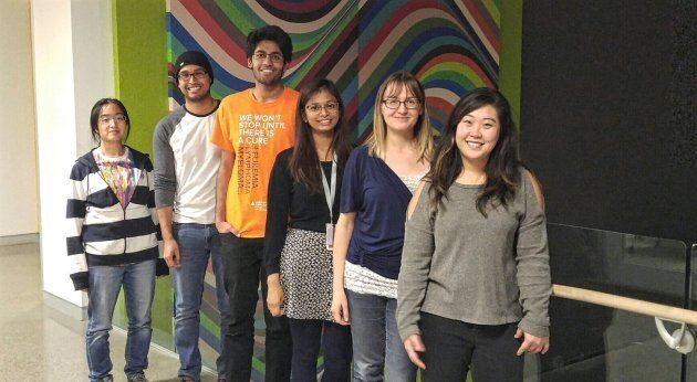 Joanne Yi, on the far right, poses with the members of her team (l-r): Mai Tanaka, Alan Coreas, Saad...