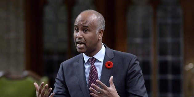 Minister of Immigration, Refugees and Citizenship Ahmed Hussen rises during Question Period in the House...