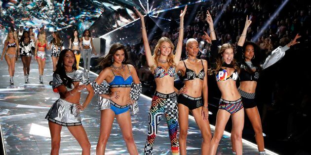 Victoria's Secret Angels pose on the runway during the 2018 fashion show at Pier 94 in New York on Nov. 8, 2018.