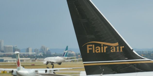 A view of a Flair Air plane at Calgary International