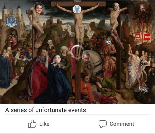 This image was one of five in a Facebook post published in a private alumni group affiliated with St. Michael's College School. The post has since been removed.