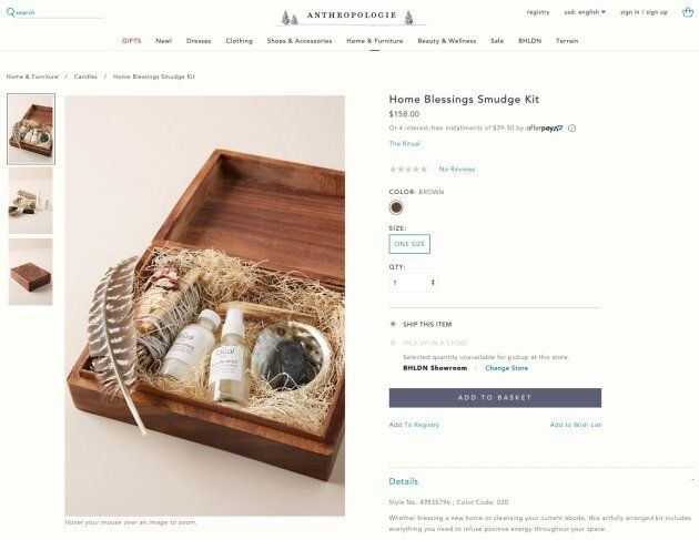 """Anthropologie recently pulled their """"Home Blessings Smudge Kit"""""""
