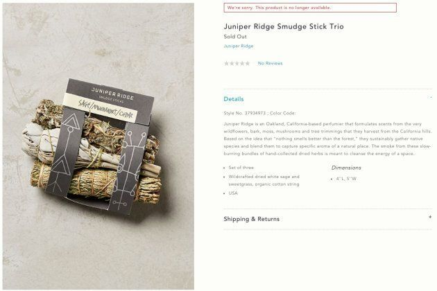 "Anthropologie sold out of their ""Juniper Ridge Smudge Stick Trio."""