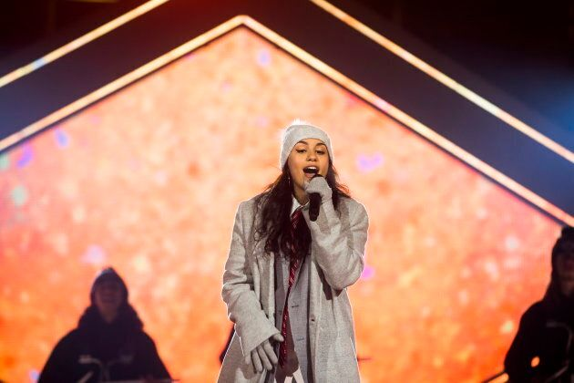 Alessia Cara performs during the halftime show at the Canadian Football League Grey Cup between the Calgary...