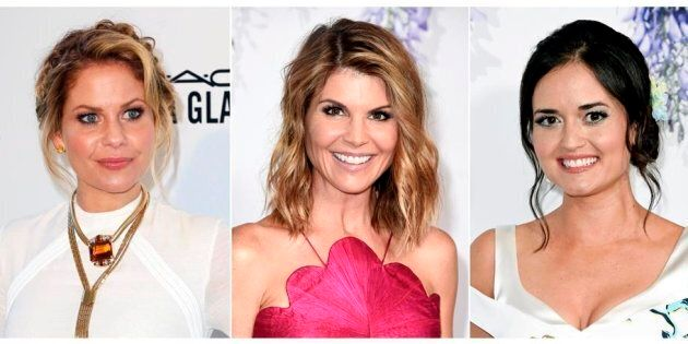 This combination photo shows actresses, from left, Candace Cameron Bure, Lori Loughlin and Danica McKellar...
