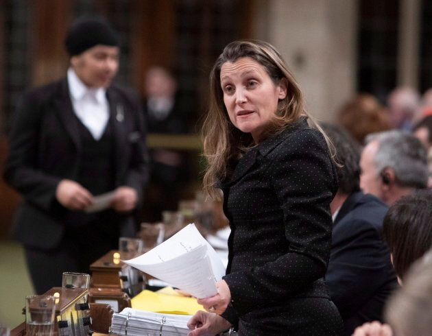 Foreign Affairs Minister Chrystia Freeland speaks in the House of Commons on Parliament Hill in Ottawa...