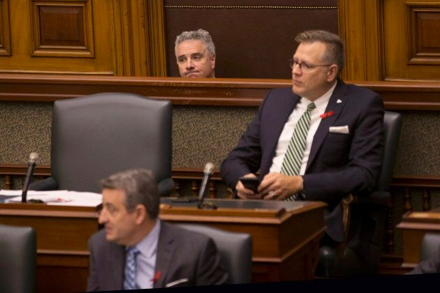 PC MPP Will Bouma sits in Amanda Simard's seat at Queen's Park in Toronto on Nov. 29,