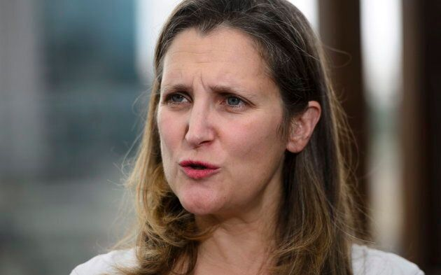 Foreign Affairs Minister Chrystia Freeland speaks to media on the roof of the Panamericano Hotel in Buenos...