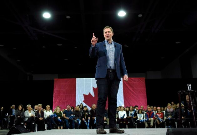 Conservative leader Andrew Scheer speaks to supporters at a pre-election event in Ottawa on Oct. 21,