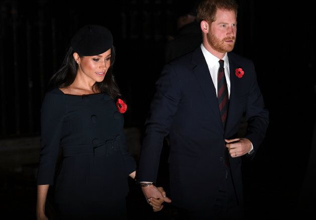Harry and Meghan attend a service marking the centenary of WW1 armistice at Westminster Abbey on Nov. 11.
