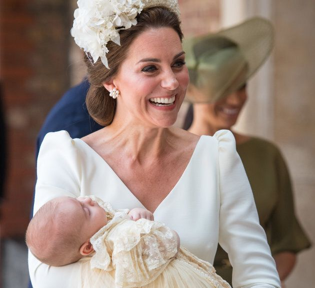 Catherine, Duchess of Cambridge carries Prince Louis — not Prince Alexander, or Prince Arthur — at his christening service on July 9, 2018.