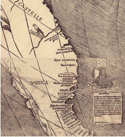 La carta creata dal geografo Martin Waldseem¨uller nel 1507 in cui compare per la prima volta il...