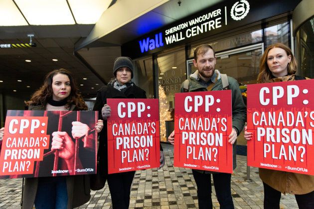 Protesters gather outside the CPPIB meeting in Vancouver on Nov. 26, 2018.