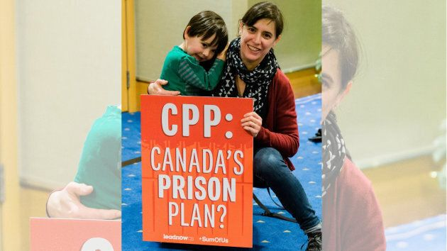 Tamara and her son at the CPPIB meeting in Vancouver on Nov. 26, 2018.