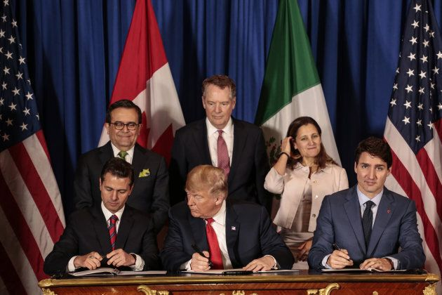 Enrique Pena Nieto, Mexico's president, from front left, U.S. President Donald Trump, and Prime Minister...