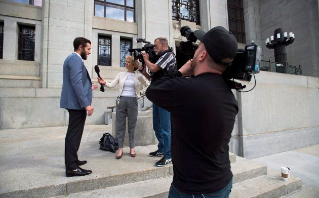 Vice reporter Ben Makuch arrives at the Supreme Court of Canada in Ottawa on May 23,