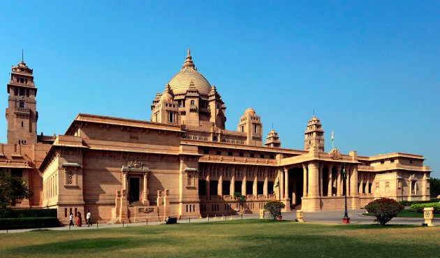 "The sumptuous Umaid Bhawan Palace in Jodhpur, India, where the Hollywood couple will say their ""I dos."""
